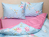 Євро комплект постільної білизни блакитного кольору з квітами, Сатин-люкс, фото 3