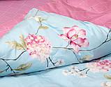 Євро комплект постільної білизни блакитного кольору з квітами, Сатин-люкс, фото 4