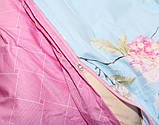 Євро комплект постільної білизни блакитного кольору з квітами, Сатин-люкс, фото 5