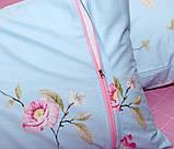 Євро комплект постільної білизни блакитного кольору з квітами, Сатин-люкс, фото 7