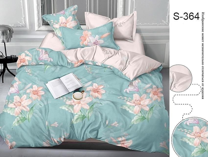 Евро комплект постельного белья с цветами, Сатин-люкс