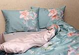 Евро комплект постельного белья с цветами, Сатин-люкс, фото 2