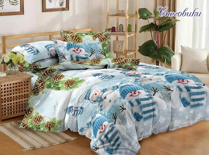Евро комплект постельного белья голубого цвета с снеговиками, Ранфорс