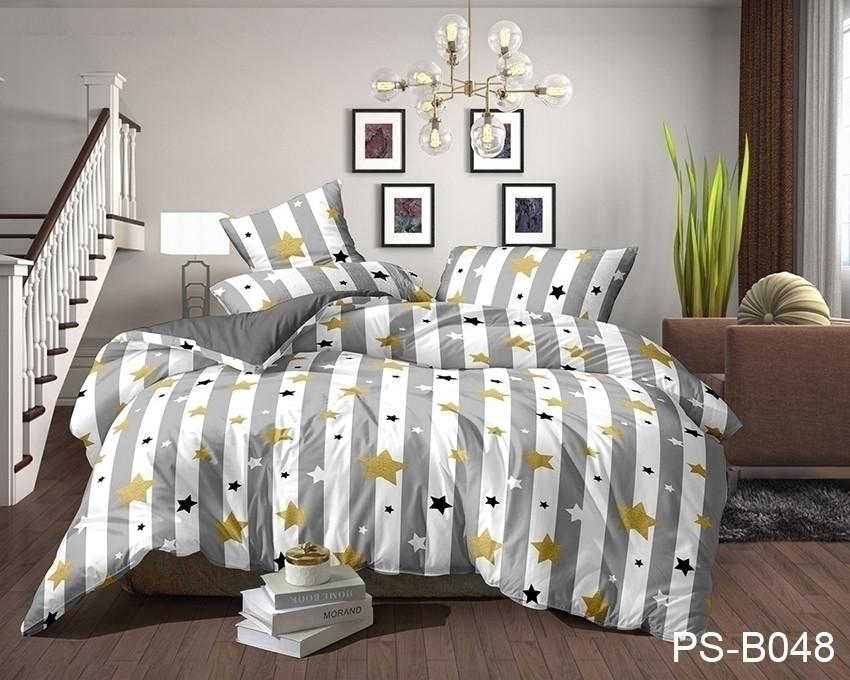 Евро комплект постельного белья в полоску со звездами, Полисатин