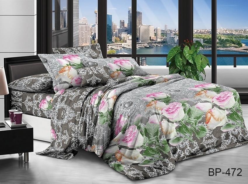 Євро комплект постільної білизни сірого кольору з трояндами, Полікотон