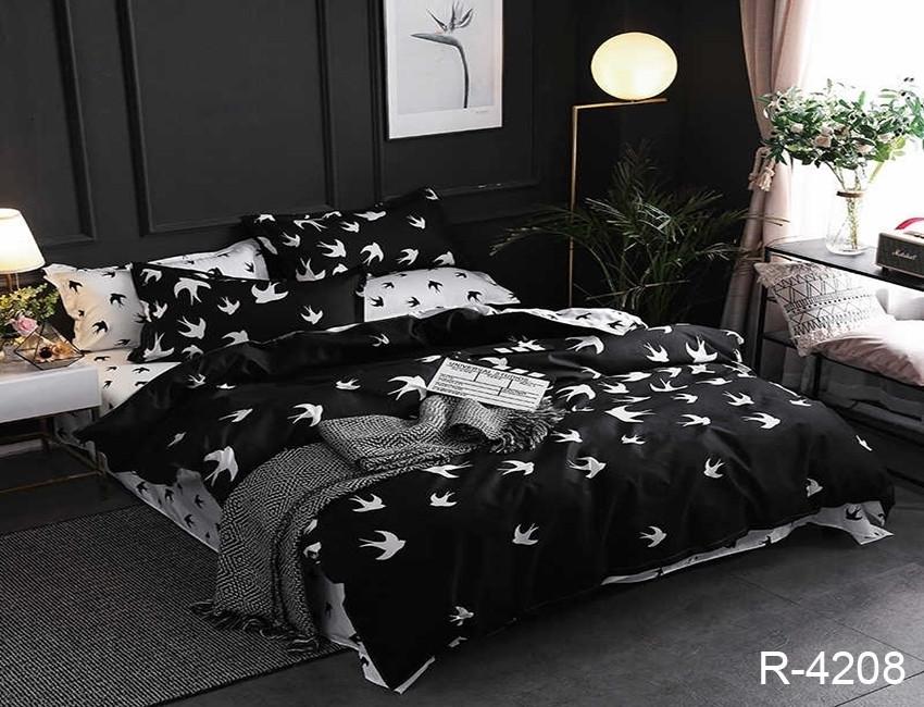 Евро комплект постельного белья черного цвета с ласточками, Ранфорс