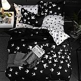 Евро комплект постельного белья черного цвета с ласточками, Ранфорс, фото 2