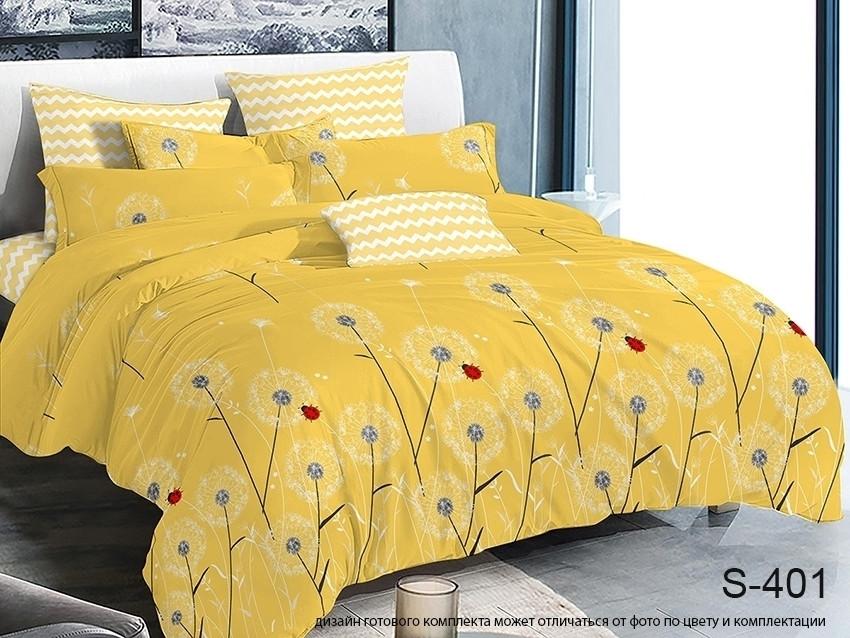 Євро комплект постільної білизни жовтого кольору з кульбабами, Сатин-люкс