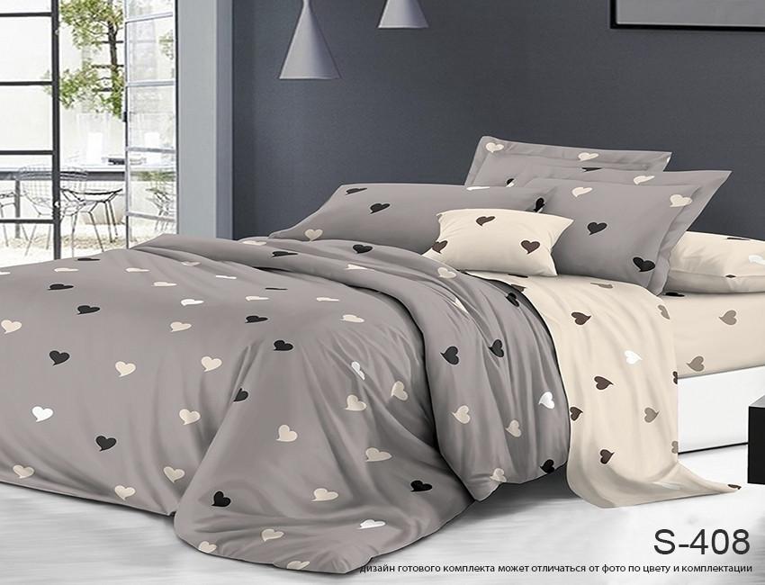 Евро комплект постельного белья серого цвета с сердечками, Сатин-люкс
