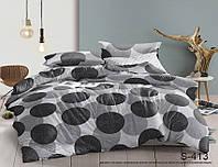 Евро комплект постельного белья серого цвета в горошек, Сатин-люкс