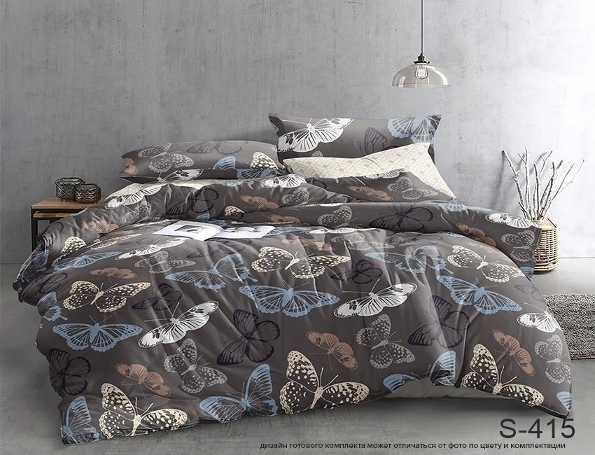 Евро комплект постельного белья серого цвета с бабочками, Сатин-люкс