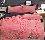 Евро комплект постельного белья розового цвета, Сатин, фото 2