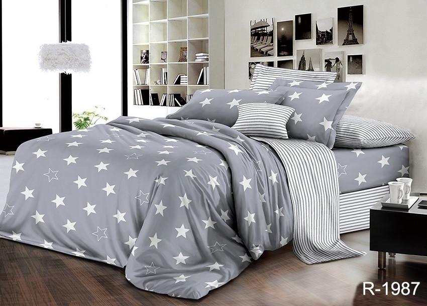 Євро комплект постільної білизни сірого кольору з зірками, Ранфорс