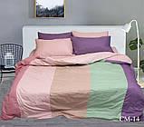 Евро комплект постельного белья в разноцветную полоску, Поплин, фото 2