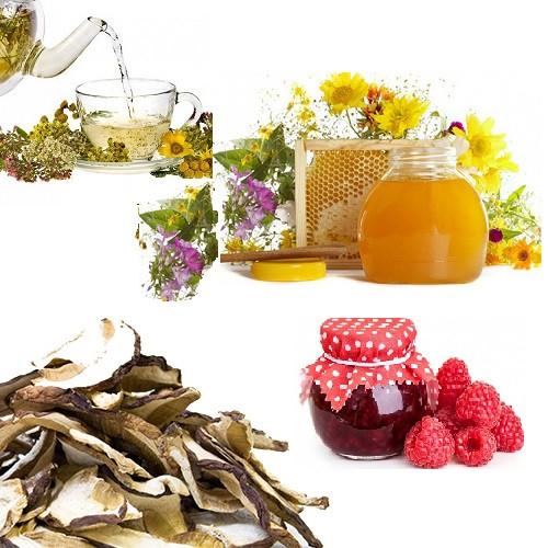 Білі гриби (сушені), Мед натуральний, Чай Карпатський, Ягоди в цукрі з Карпат