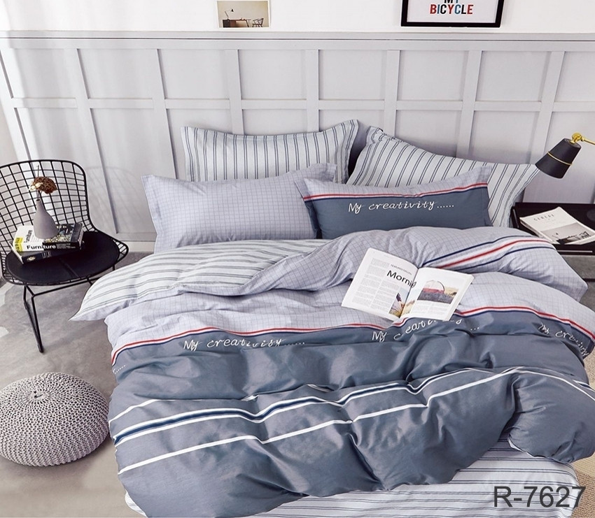 Евро комплект постельного белья серого цвета в полоску, Ранфорс