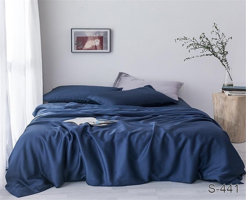Євро комплект постільної білизни темно синього кольору, Сатин-люкс