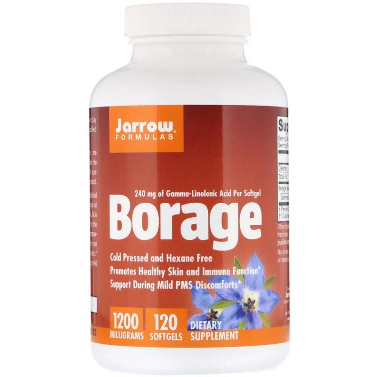 Бурачник (огуречная трава), Borage, GLA-240, 1200 мг, Jarrow Formulas, 120 мягких желатиновых капсул