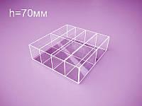 Акриловый контейнер для товаров 200х200х70 мм на 8 отделений (Толщина акрила : 3 мм; ), фото 1