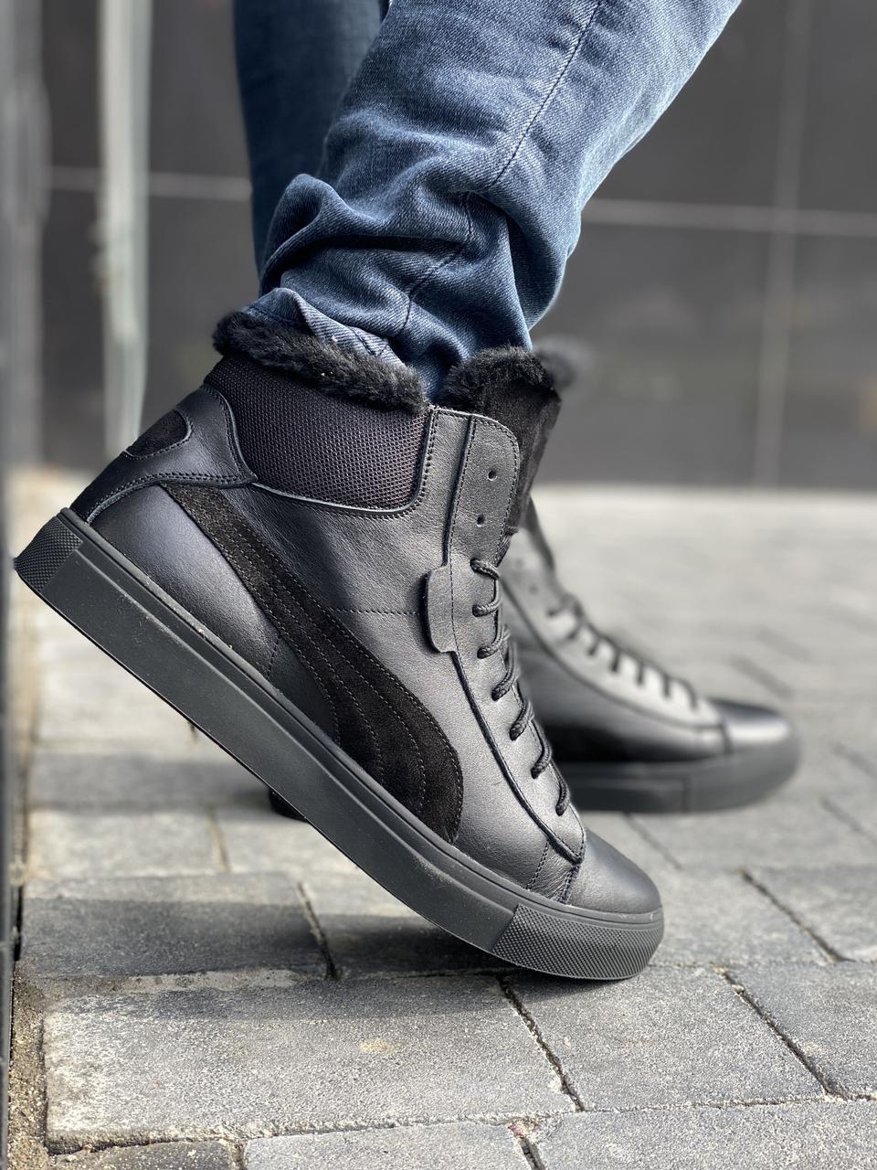 Мужские ботинки кожаные зимние черные New Man P26-1