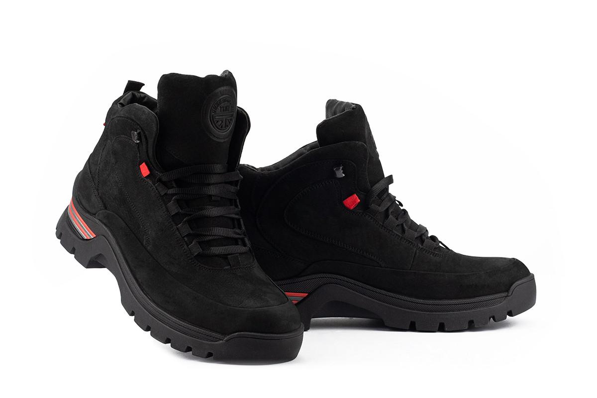 Мужские ботинки кожаные зимние черные-нубук Trike 330