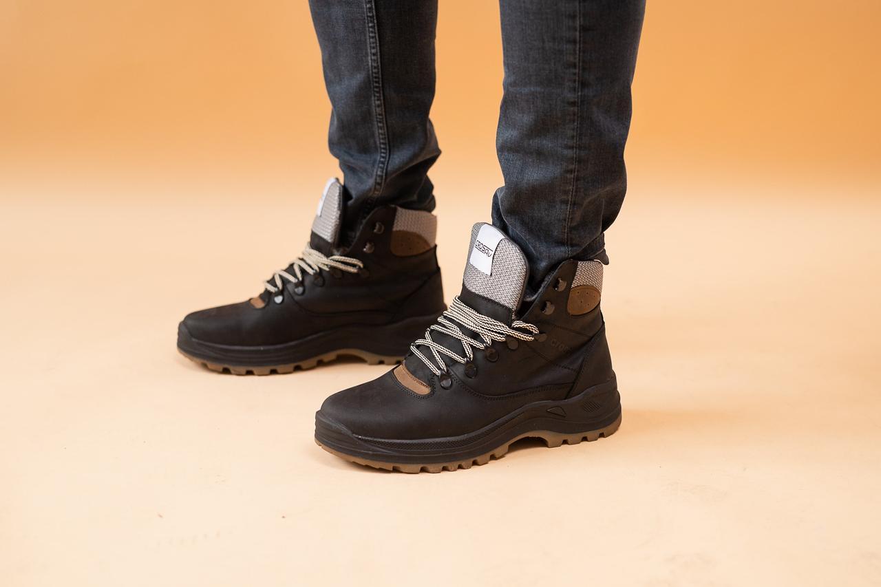 Мужские ботинки кожаные зимние черные CrosSAV 328