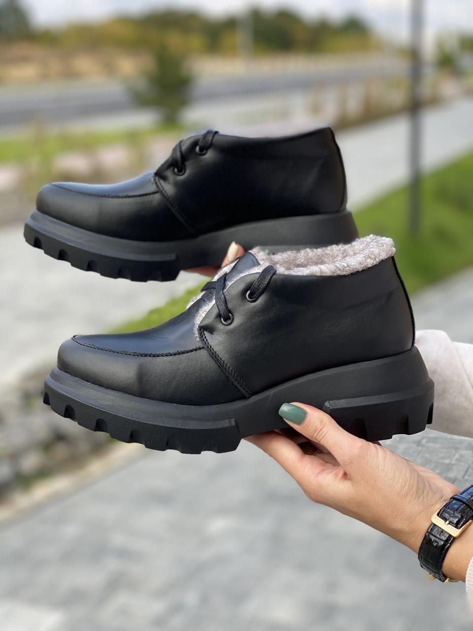 Женские ботинки кожаные зимние черные Polin 2044