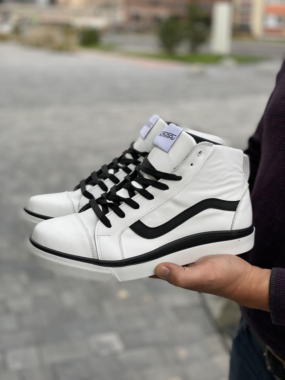 Мужские кроссовки кожаные зимние белые-черные CrosSAV 324