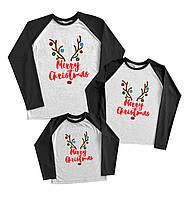 """Family look регланы в наборе на новый год """"merry christmas рога оленя с игрушками"""" Family look"""