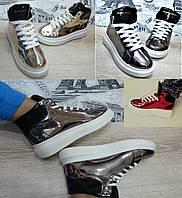 Зеркальные детские кроссовки ботинки подростковые. Лаковая кожа, криперы Queen (Маквины).