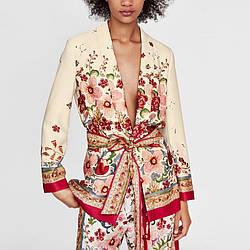 Блейзер женский с цветочным принтом и поясом Flower ornament Berni Fashion (S)