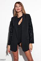 Черный пиджак с акцентными рукавами S M L, фото 1