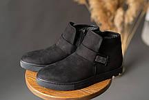 Мужские ботинки кожаные зимние черные-нубук Zangak 161 чн, фото 3