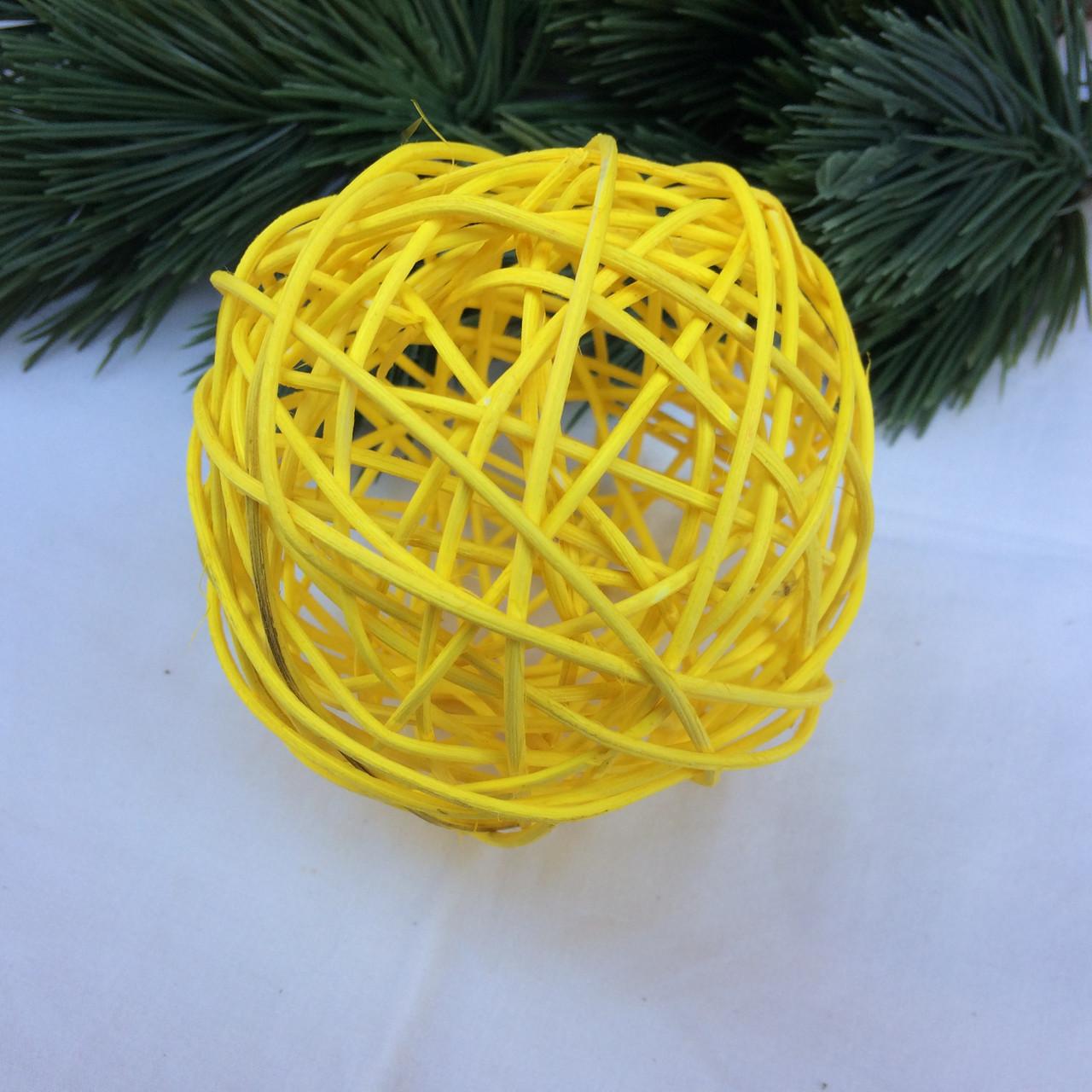 Куля з ротанга 10 див. жовтий ( 2 шт в уп)