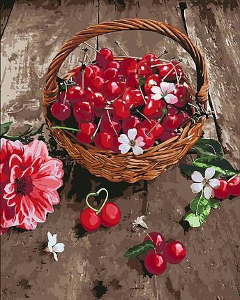 KH5597 Картина для рисования по номерам Вишневая радость, Без коробки, фото 2