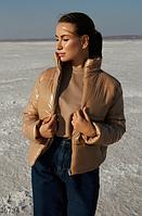 Куртка бежева з глянцевого матеріалу S,M,L, фото 1