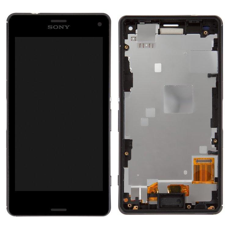 Дисплей (экран) для Sony D5833 Xperia Z3 Compact с сенсором (тачскрином) и рамкой черный