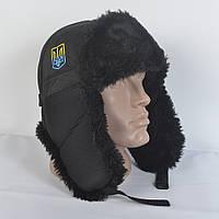 Мужская Патриотическая шапка ушанка из плащевки - Искусвенный мех Мутона (код 29-237)