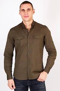 Рубашка мужская хаки AAA 123454P