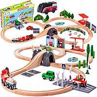 Детская деревянная железная дорога Doris (90 элементов) Польша