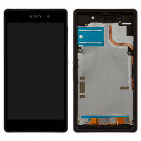 Дисплей (экран) для Sony D6503 Xperia Z2 L50W с сенсором (тачскрином) и рамкой черный