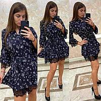 Платье шифоновое короткое с кружевом CDM-2652
