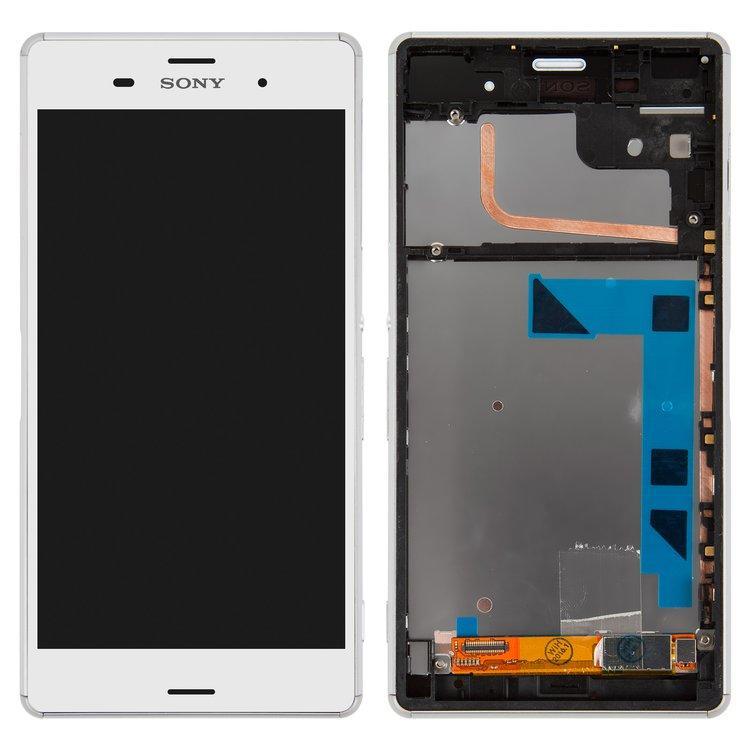 Дисплей (экран) для Sony D6643 Xperia Z3 с сенсором (тачскрином) и рамкой белый