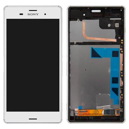Дисплей (экран) для Sony D6643 Xperia Z3 с сенсором (тачскрином) и рамкой белый, фото 2