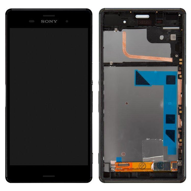 Дисплей (экран) для Sony D6603 Xperia Z3 с сенсором (тачскрином) и рамкой черный
