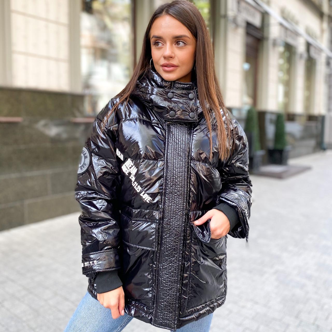 Женский укороченный объемный зимний пуховик, парка, куртка с утиным пухом глянцевый черный