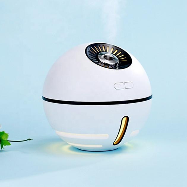 Ультразвуковой увлажнитель воздуха с аккумулятором, USB лампой и вентилятором Humidifier Space Ball белый