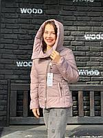 Куртка женская осень / весна с капюшоном, арт.501 цет айс латте ( бежево-сиреневый)