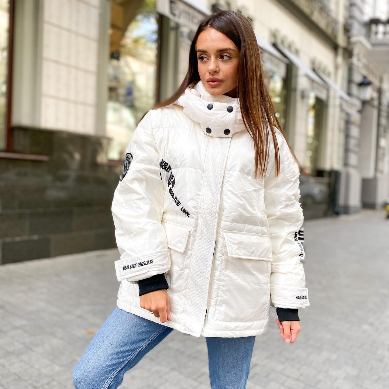 Женский укороченный объемный зимний пуховик, парка, куртка с утиным пухом глянцевый белый