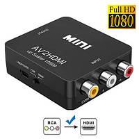 Конвертер AV RCA - HDMI видео, аудио, FullHD 1080p, черный